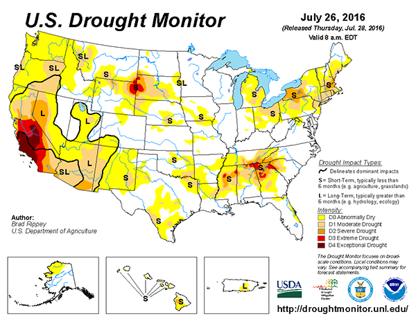 US Drought Monitor July 26, 2016